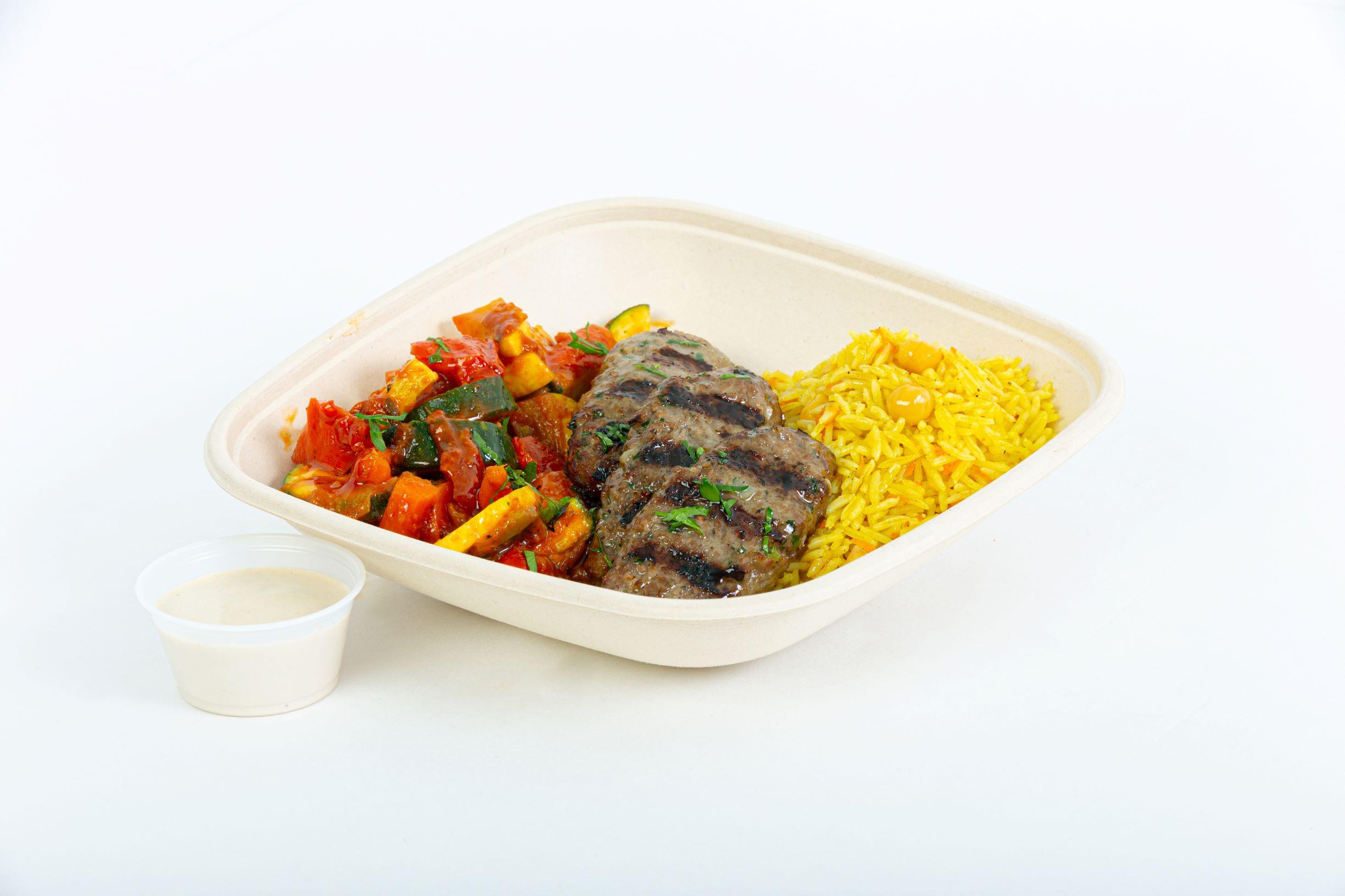 Beef kefta kabob rice bowl